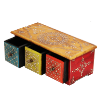 Multicolor Horizontal Three Drawer Embossed Box in Wood