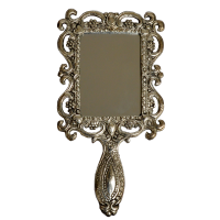 Ornate Hand Mirror in Oxidized Metal