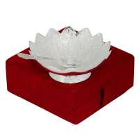 Ornate Lotus Shaped Bowl & Spoon Set in German Silver