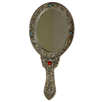 Oval Shaped Ornate Hand Mirror in Oxidized Metal