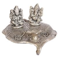 Oxidised peepal leaf ganesh lakshmi designer portray