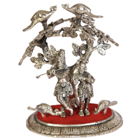 Oxidised radha krishna tree embossed art work