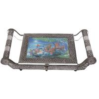 Oxidised rajathani artwork tray box