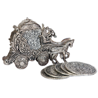 Oxidised rath shaped tea coaster