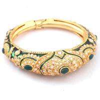 Polki stones studded green & white bangles