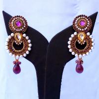 Purple & white pair of earrings