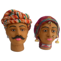 Rajasthani Decorative Kaka Kaki Miniature Heads