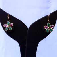 Red & green stone embedded desire earrings