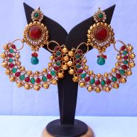 Red & green stone embedded ram leela earrings