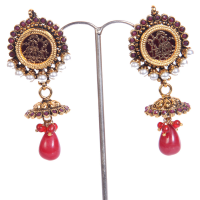 Red & golden masterpiece arted earrings