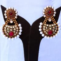Red gem embedded designer earrings