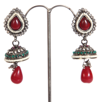 Red gem studded jhumki