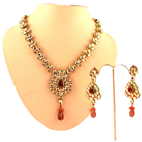 Red stone embossed in kundan necklace