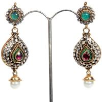 Royal coloured beads engraved earrings