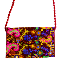Multicolour ethnic embroidered clutch bag