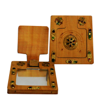Square shaped wooden hand mirror