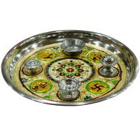 Steel pooja thali with Meenakari work