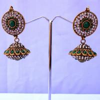 Stylish pair of green jhumka earrings