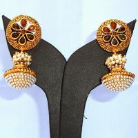 Stylish red ram leela earrings