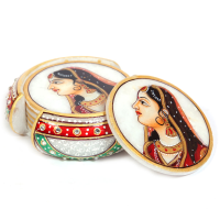 Marble Handicraft Tea Coaster With Rajpooti Lady Figure