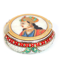Marble Crafted Tea Coaster With Rajpooti Lady Print Online
