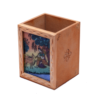 Traditional Wooden Pen Stand with Ragini Painting