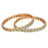 Triangular emerald stoned bangles