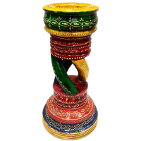 Wooden Candle Stand with Colorful Embossed Work