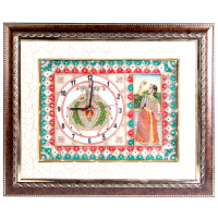 Wooden Frame Marble Clock with Bani Thani Painting and LED Lighting