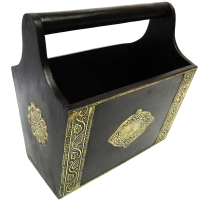 Wooden magazine holder with brass work