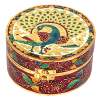 Wooden Round Box with Meenakari Work