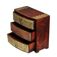 Wooden Three Drawer Box with Brass Work