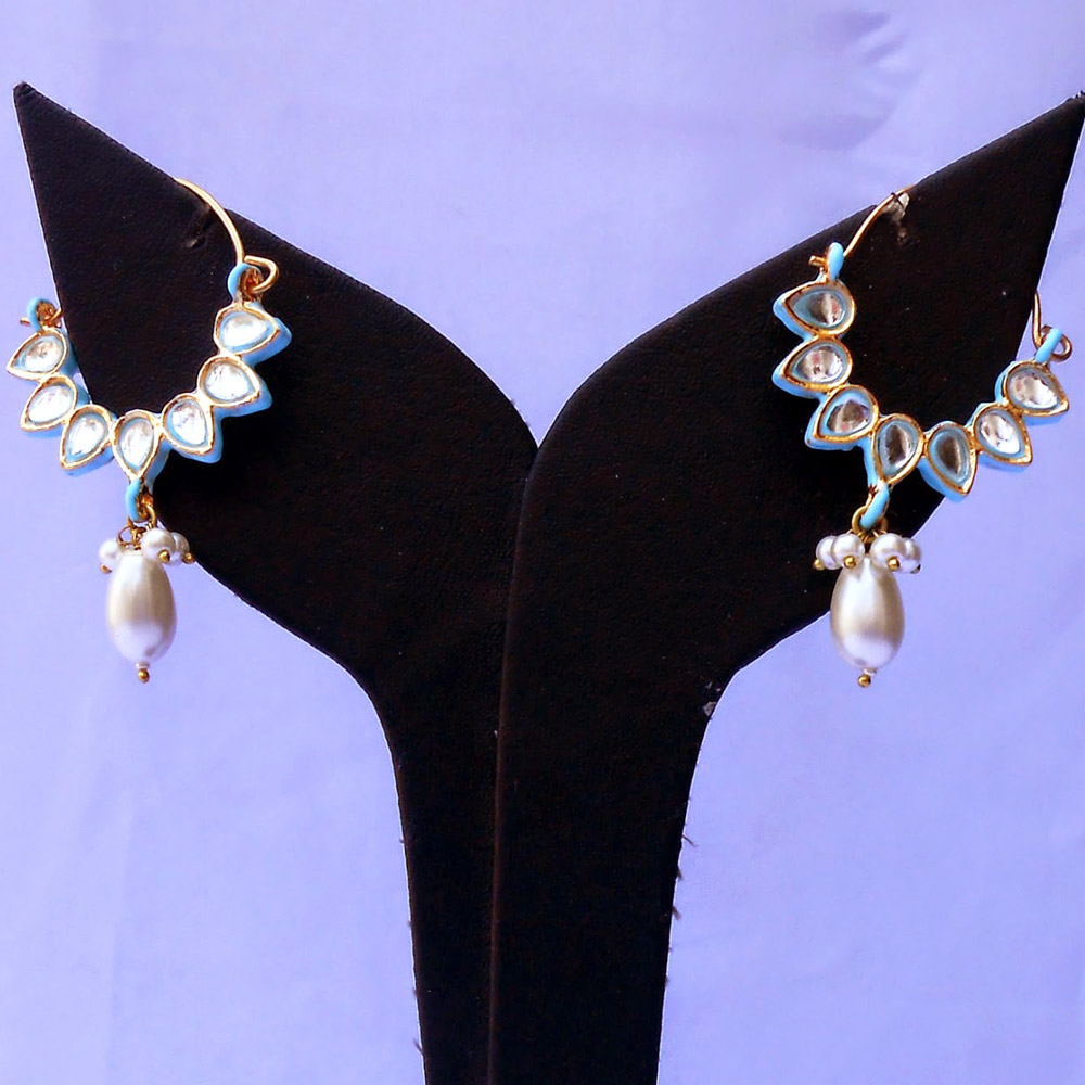 Turquoise kundan bali earrings