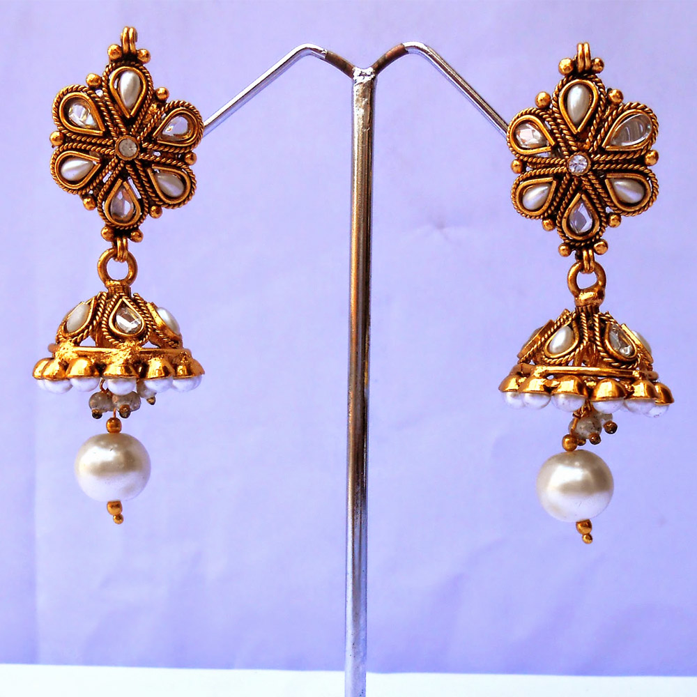 White kundan jhumki earrings