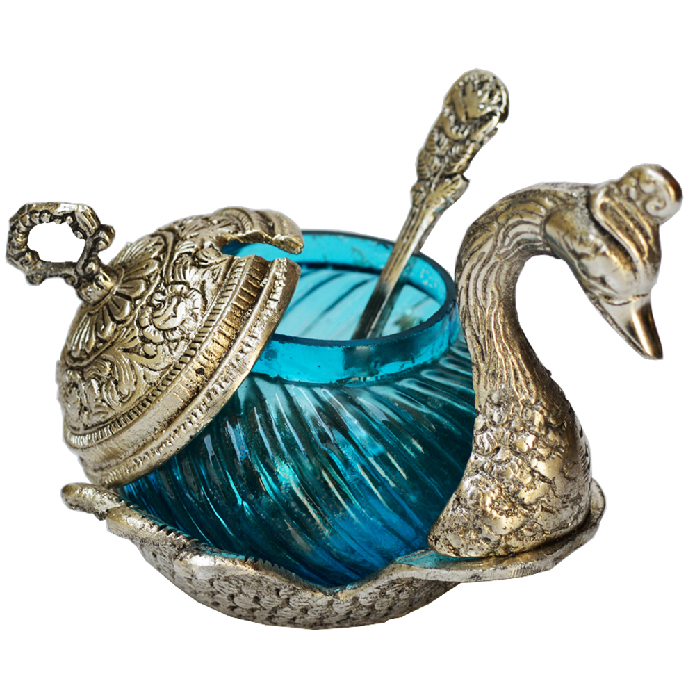 Indian Wedding Return Gift Ideas: Handcrafted White Metal Duck Shaped Bowl Online