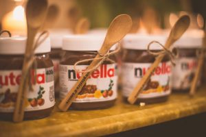 Nutella jars with customized wooden spoons- Return Gift