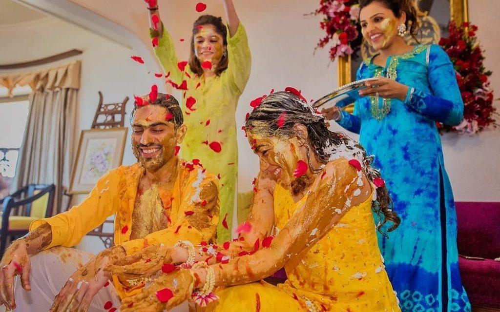 Haldi to bride and groom